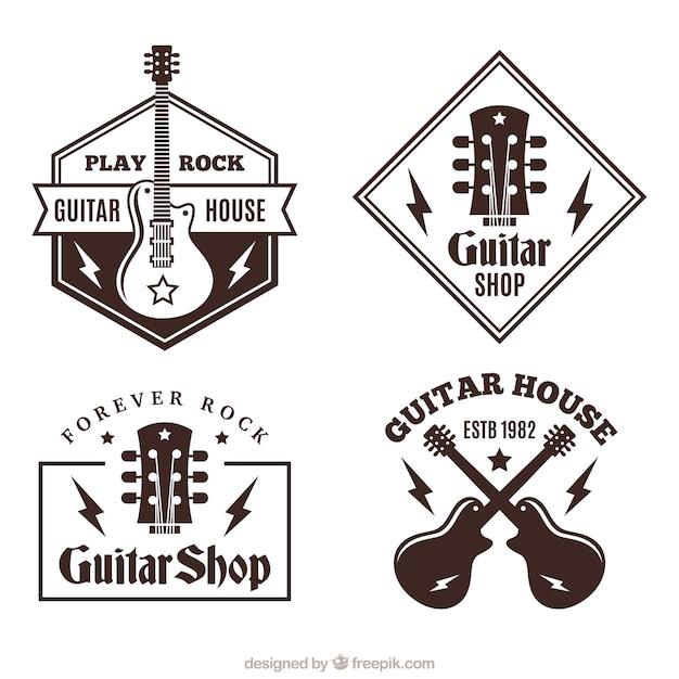 Various Guitar Logos In Flat Design Vector