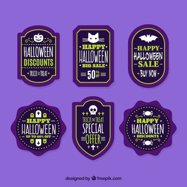 Various halloween discount stickers Free Vector
