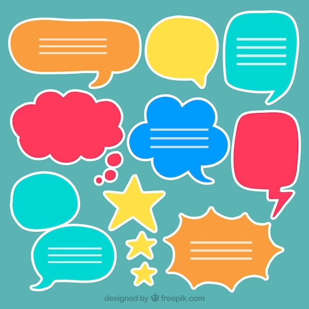 Various hand drawn colorful speech bubbles