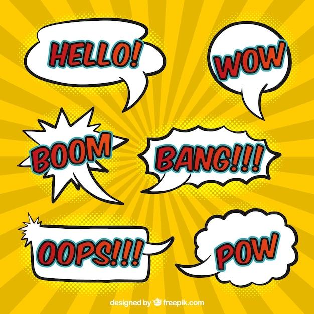 Various hand drawn comic speech bubbles