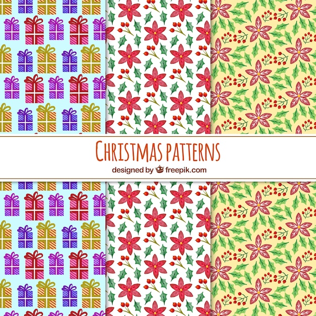Various hand drawn decorative christmas patterns