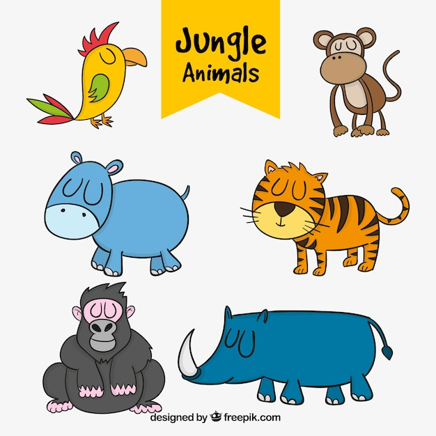 various hand drawn jungle animals vector free download