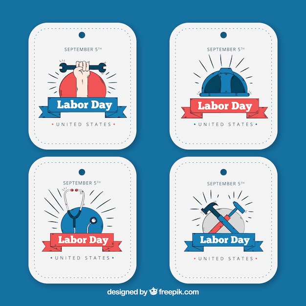 Various hand drawn labor day stickers