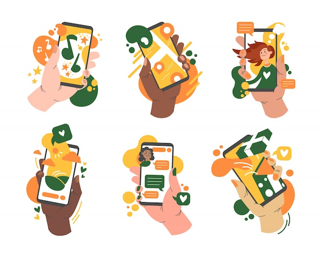 Various hands holding smartphones with app set Free Vector