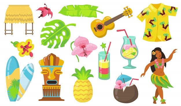Various hawaii symbols flat icon set Free Vector