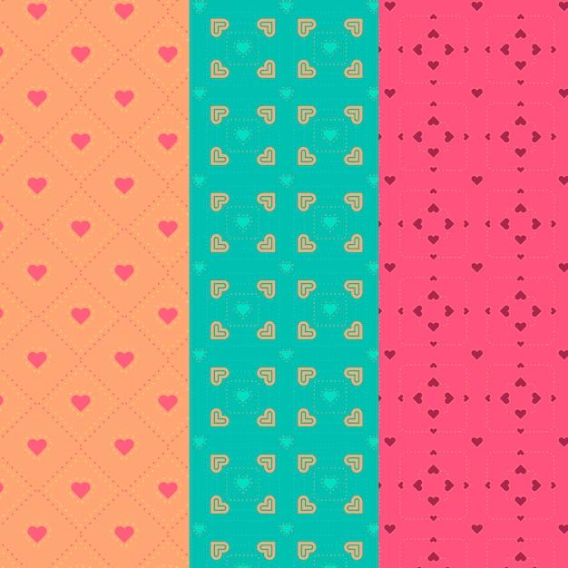 다양 한 하트 디자인 완벽 한 패턴 모음 무료 벡터