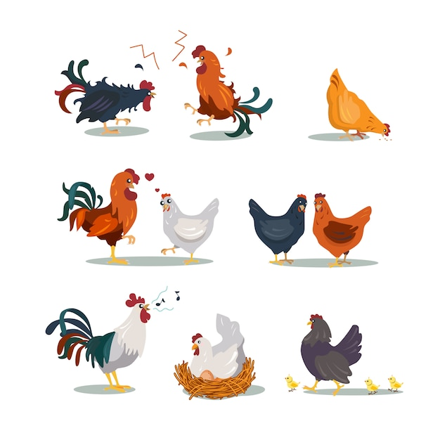Various hens and roosters flat icon set Free Vector