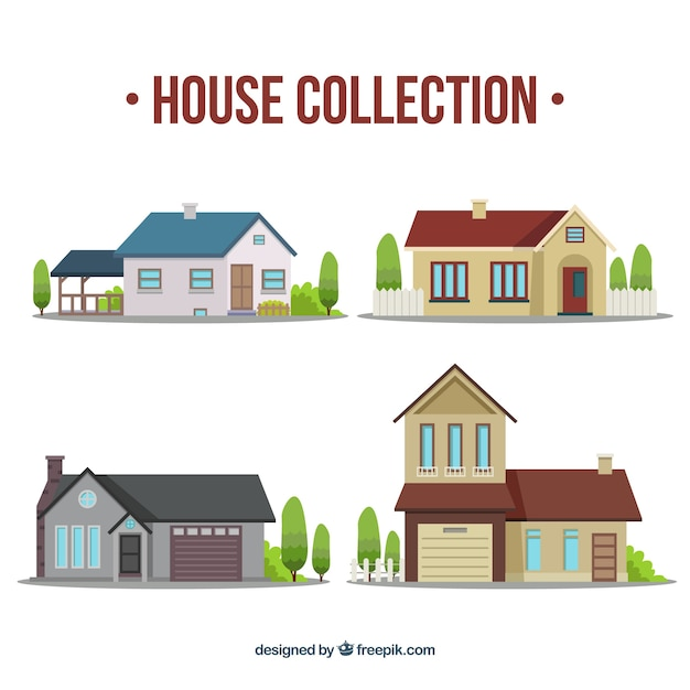 Various houses in flat design Free Vector