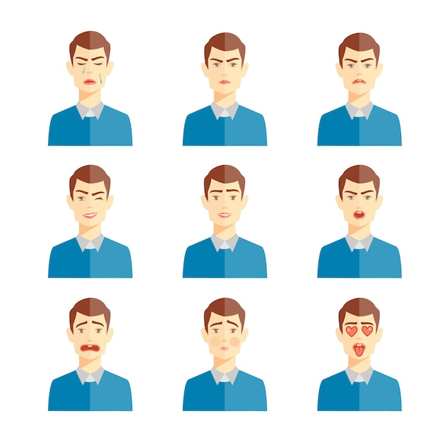 Varie emozioni umane illustrazione vettoriale, set di simpatici personaggi Vettore gratuito