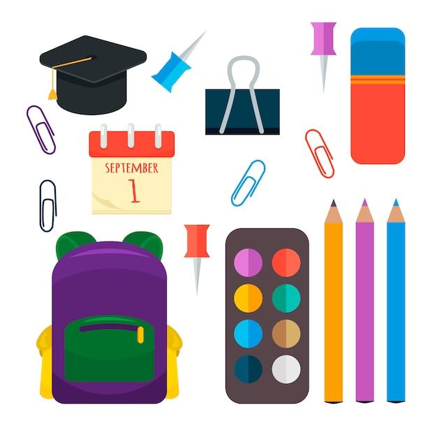 Various individual school supplies set. Premium Vector