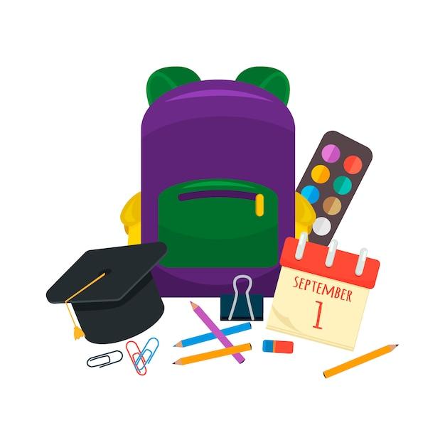 Various individual school supplies vector set. Premium Vector