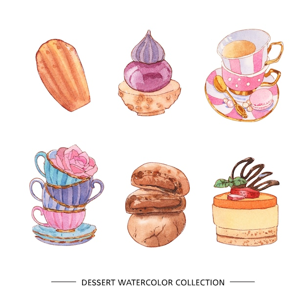 Various isolated watercolor dessert illustration Free Vector