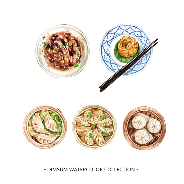 Various isolated watercolor dim sum illustration  for decorative use. Free Vector