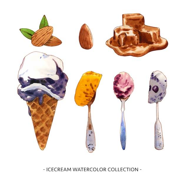 Various isolated watercolor ice cream illustration for decorative use. Free Vector