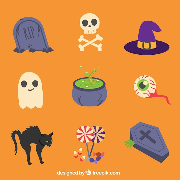 Various items in a halloween theme