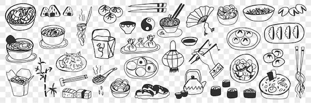 Набор различных японских китайских блюд каракули. собрание рисованной суши-маки, блинчиков с начинкой, пропаренного риса и пельменей как изолированной национальной кухни. Premium векторы
