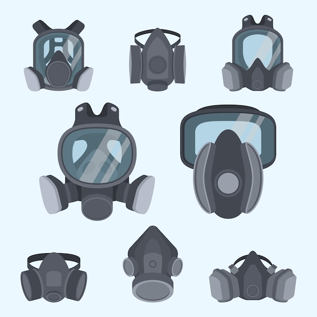 various kinds of gas mask set gas mask for firefighters and military