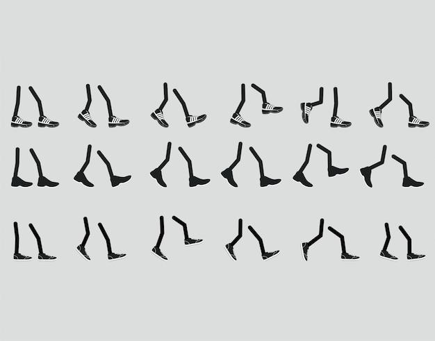 Various legs in shoe, walking feet sneakers in various positions Premium Vector