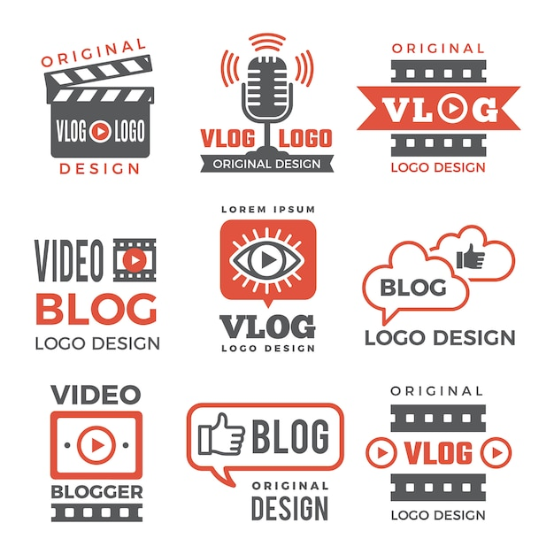 Various logotypes for tv channels and vloggers Premium Vector