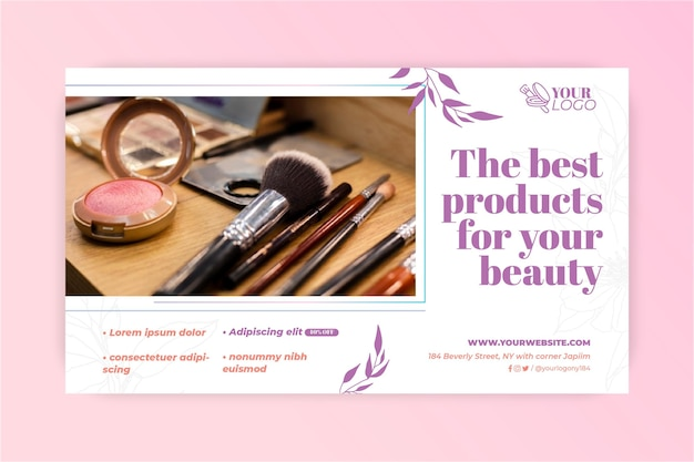 Various make-up brushes banner Free Vector