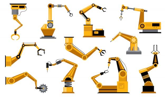 Различные роботы-производители оружия Бесплатные векторы