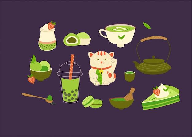 Various matcha tea products. matcha powder, macarons, ice cream, cake, teapot, drink, tea, tea leaves, lucky cat, quinoa yogurt. Premium Vector