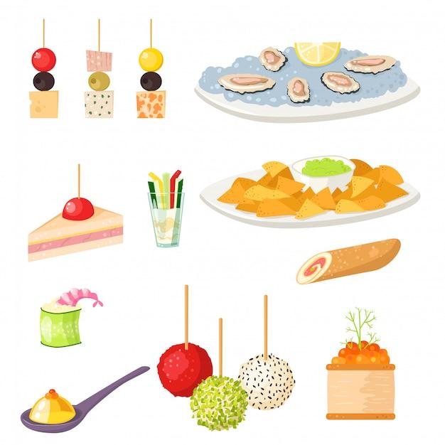 Различные закуски канапе закуски рыб и сыра банкета закусок мяса на иллюстрации диска. Premium векторы