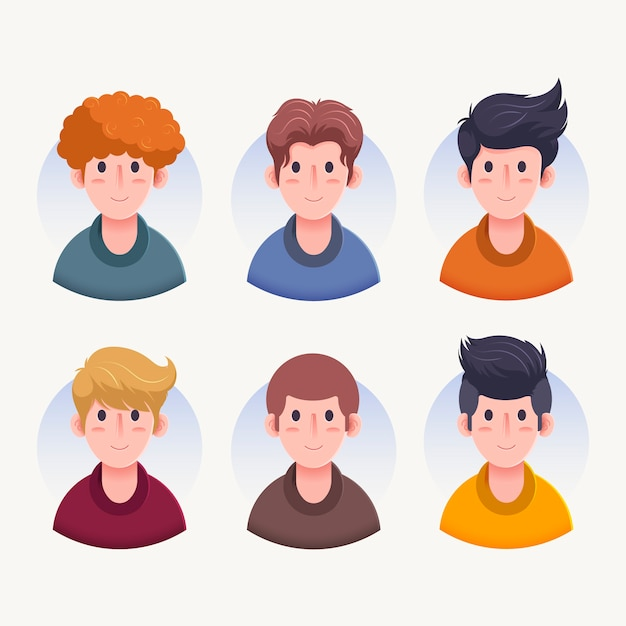 Various men character avatars front view Free Vector
