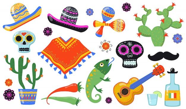 Various mexican symbols flat icon set Free Vector