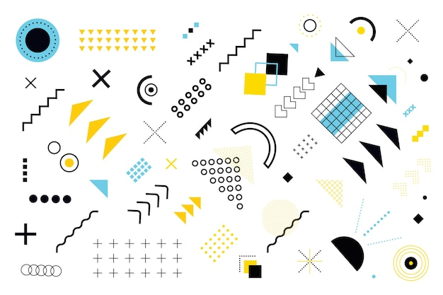 Various models and geometrical shapes background Free Vector