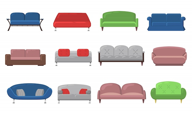 Various modern sofas and couches Free Vector