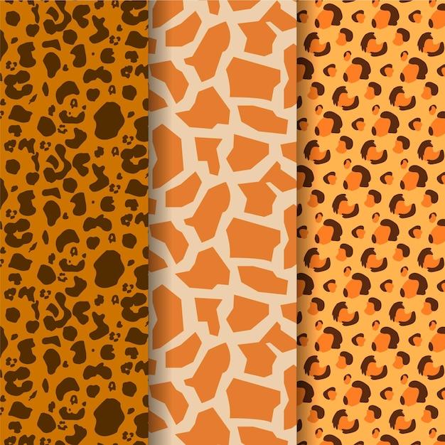 さまざまな現代の野生動物の毛皮パターン 無料ベクター