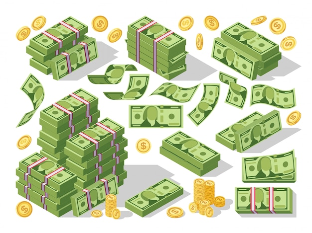 Various money bills dollar cash paper bank notes and gold coins vector set Premium Vector