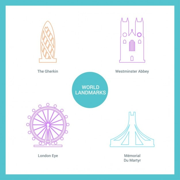Various monuments drawn with lines