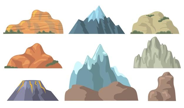 様々な山頂フラットアイコンセット。岩が多い丘、雪に覆われた岬のトップ、ロック、火山の形状を漫画はベクトルイラスト集を分離しました。 無料ベクター