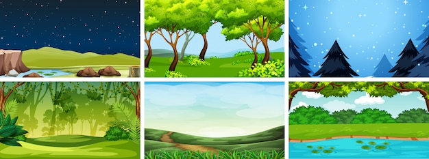Various nature scenes in day and night Free Vector