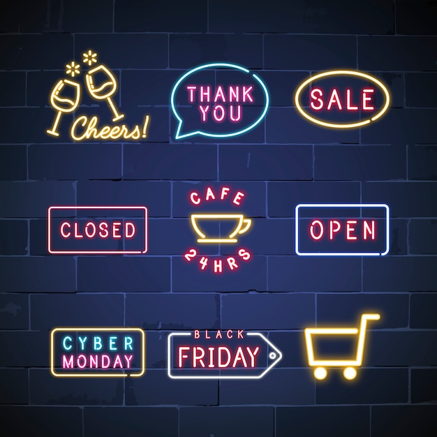 Various neon signs vector set Free Vector