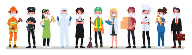 Various occupations people wearing face masks banner. Premium Vector