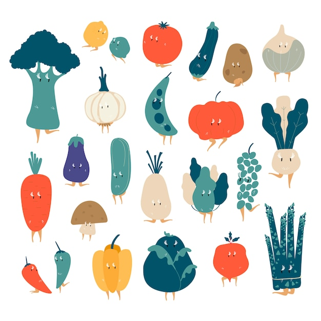Various organic vegetable cartoon characters vector set Free Vector