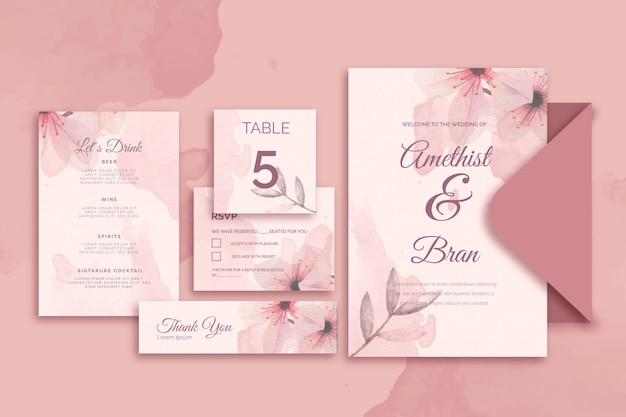 Various papetry for wedding in pink tones Free Vector