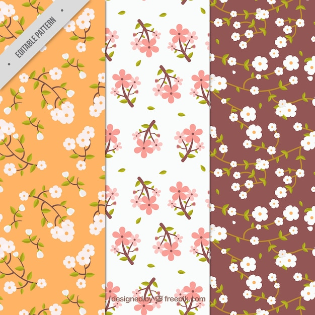 Various patterns of cherry blossoms in vintage style Free Vector
