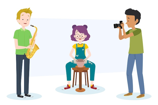 Various people being creative with their hobbies Free Vector