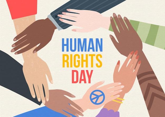 さまざまな人が人権デーを一緒に手渡します Premiumベクター
