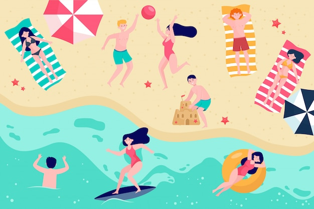 Various people relaxing on beach flat vector illustration Free Vector