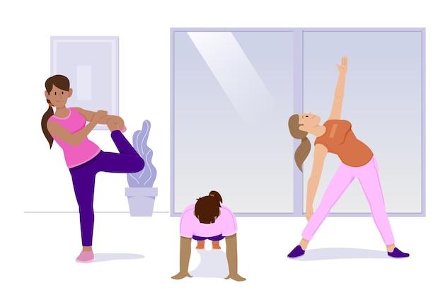 さまざまな体力が室内スポーツを動かす 無料ベクター