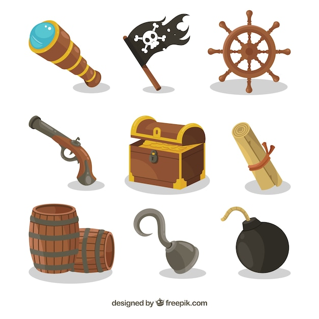 Various pirate items and treasure chest Premium Vector