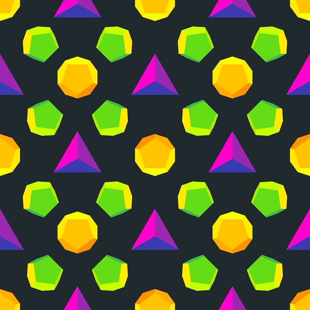 Various platonic solids violet green orange yellow colors seamless pattern  black background Premium Vector