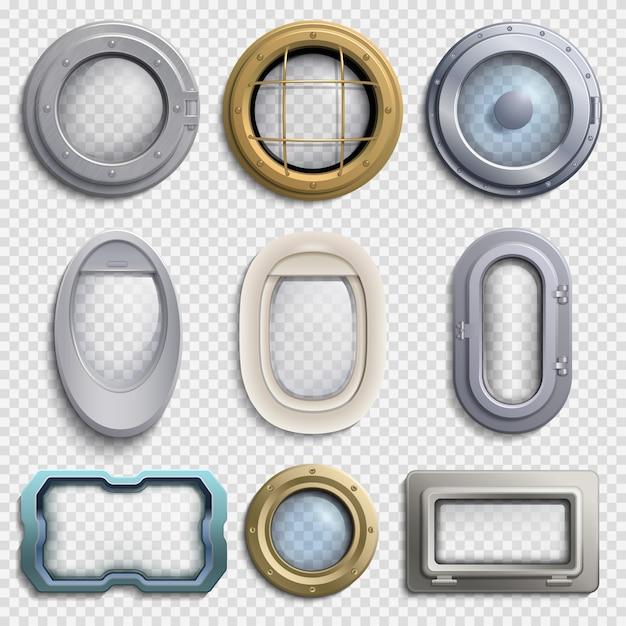 Различные иллюминаторы изолированные векторный набор Premium векторы