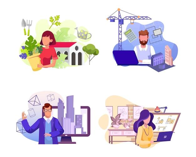 다양한 직업의 세트. 플로리스트, 건축가, 엔지니어 및 인테리어 캐릭터. 꽃 가게, 건축 회사, 부동산업자 프리미엄 벡터
