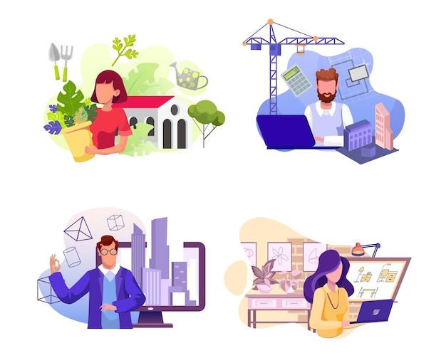 Various professions   s set. florist, architect, engineer and interior er  characters. flower shop, building company and real estate agency workers Premium Vector